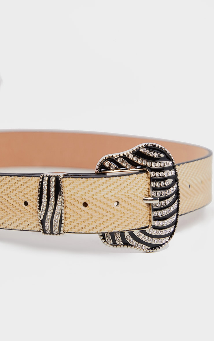 Natural Western Diamante Zebra Buckle Belt 3