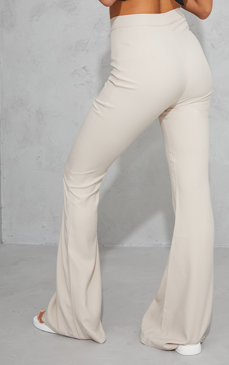 Stone Woven Flared Trousers 3