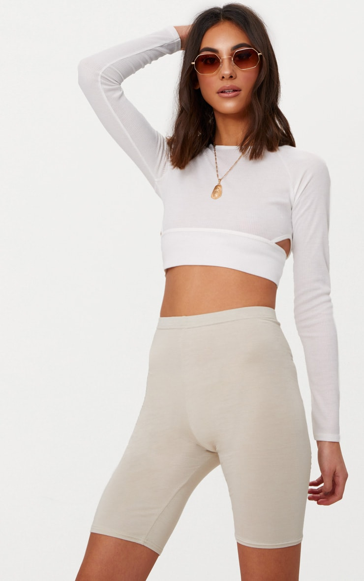 White Long Sleeve Rib Cut Out Side Crop Top  1