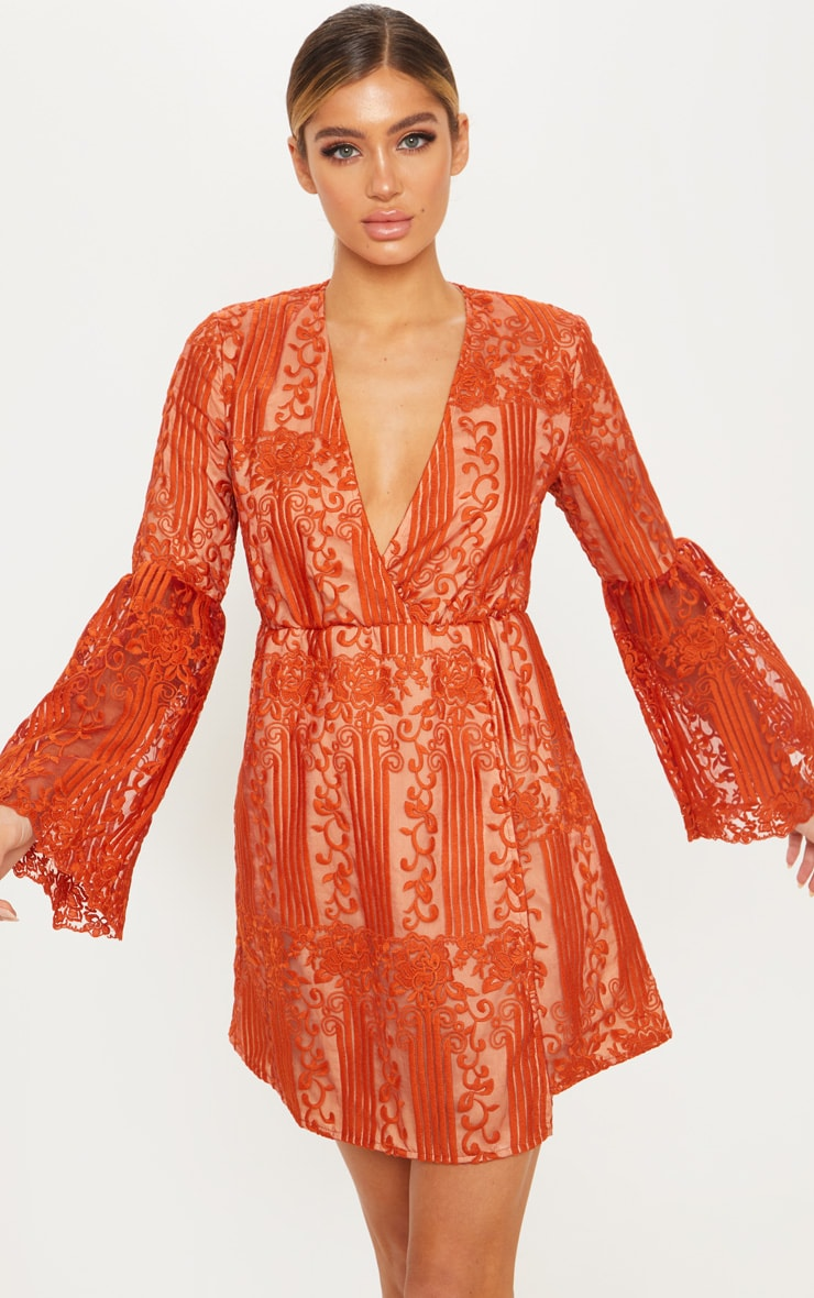 Rust Lace Flared Sleeve Wrap Skater Dress