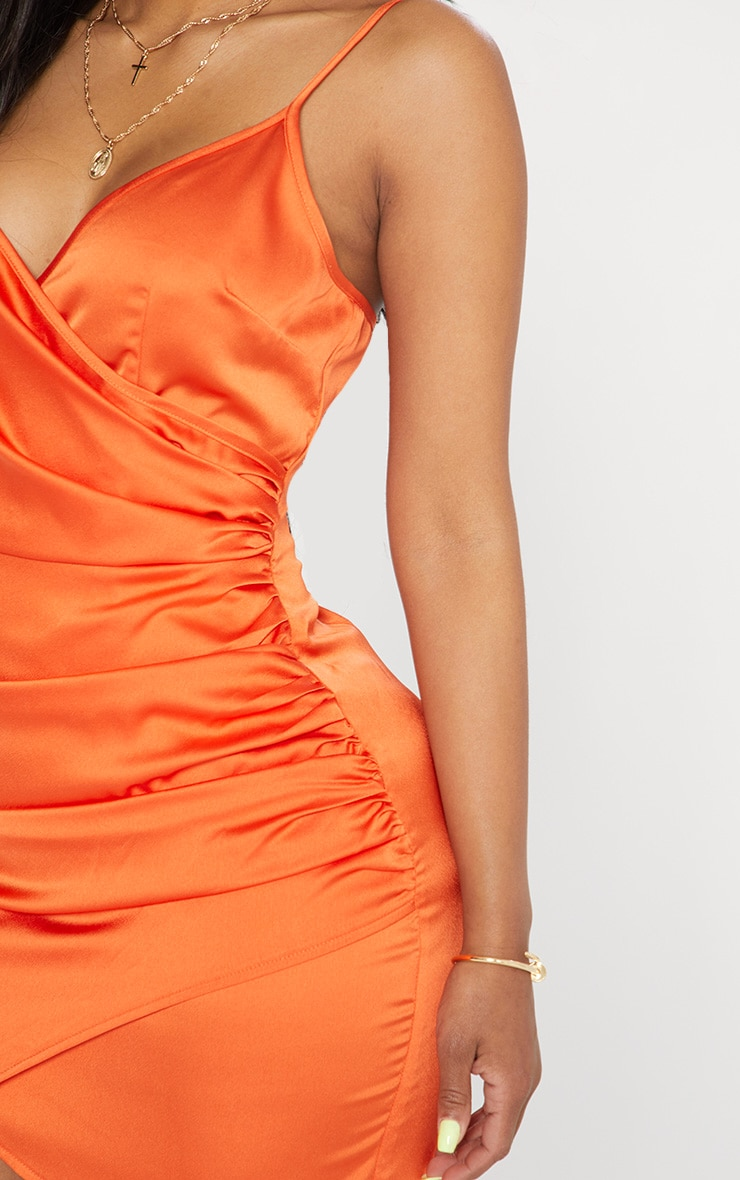 Shape -  Robe portefeuille orange satinée 5