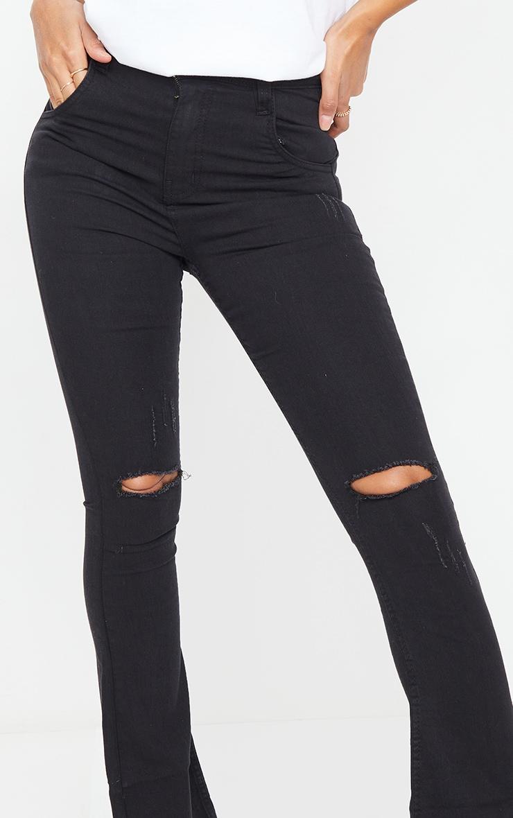 Black Distressed Knee Flare Jean 4