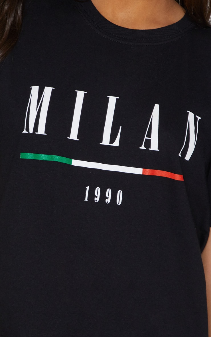 Black Milan Slogan Oversized T Shirt 5