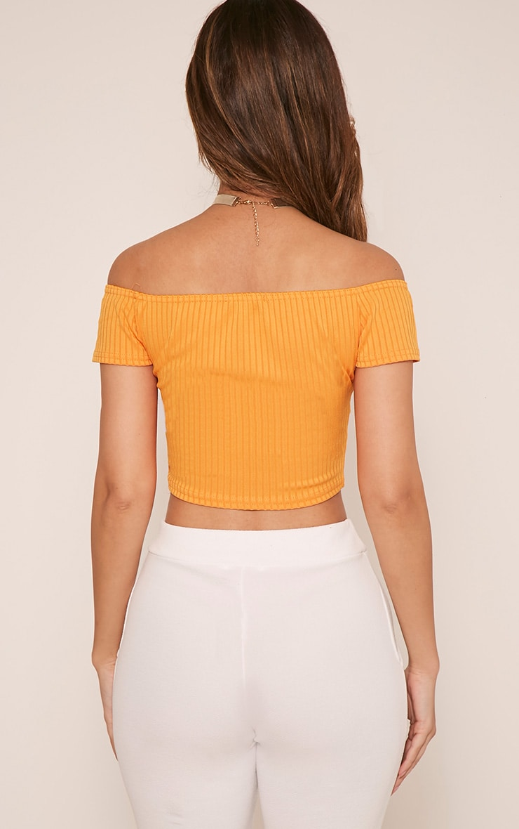 Vega Bright Orange Ribbed Bardot Crop Top 2