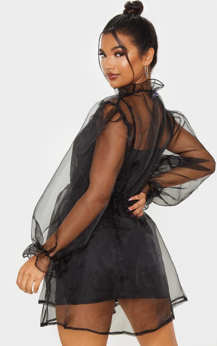 Black Organza Puff Sleeve Smock Dress 2