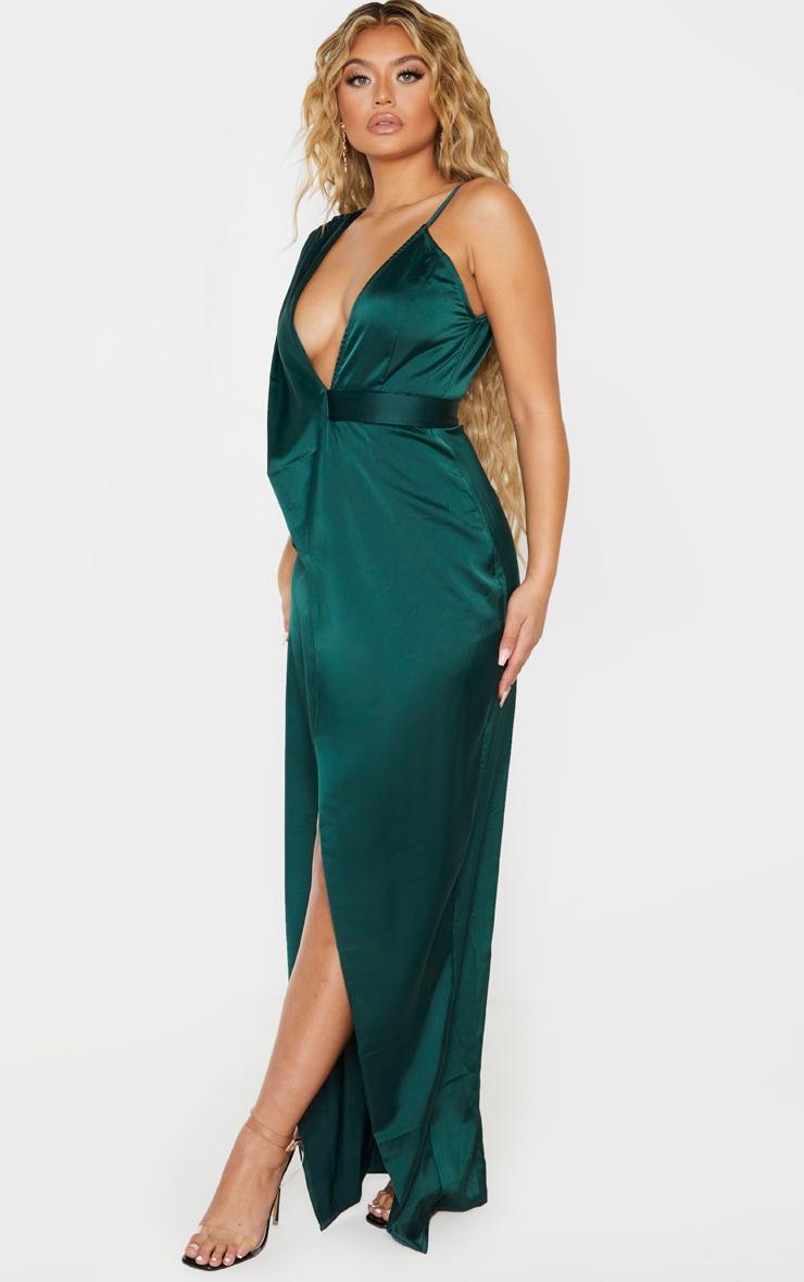 Emerald Green Asymmetric Drape Detail Maxi Dress 4
