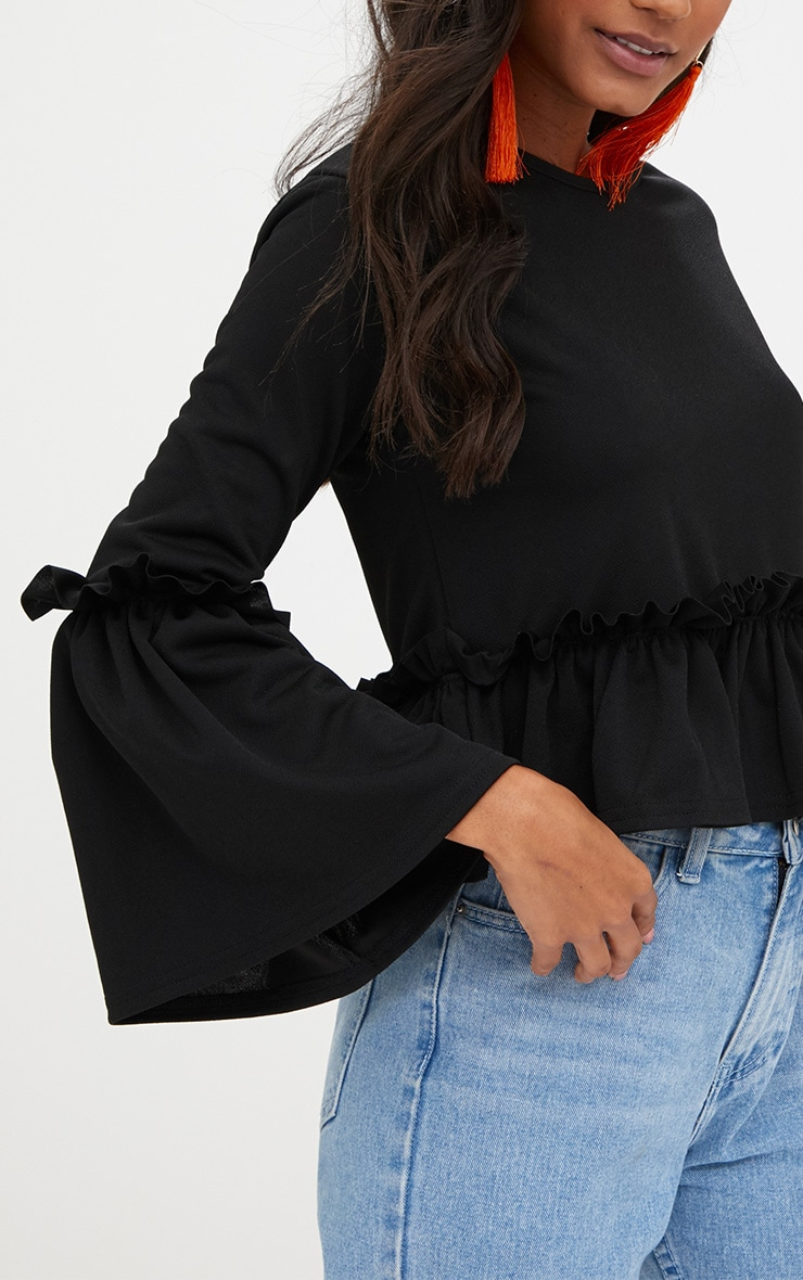 Black Frill Sleeve Top 4