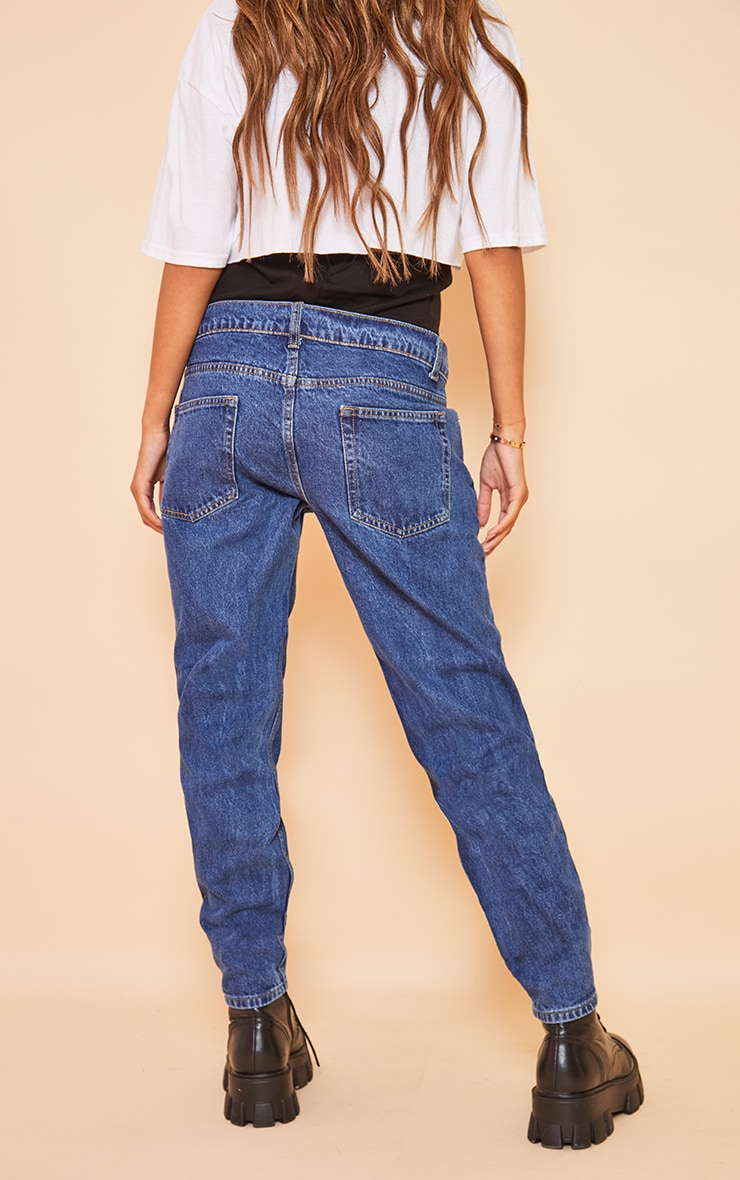 Maternity Blue Mid Wash Ripped Knee Mom Jeans 3