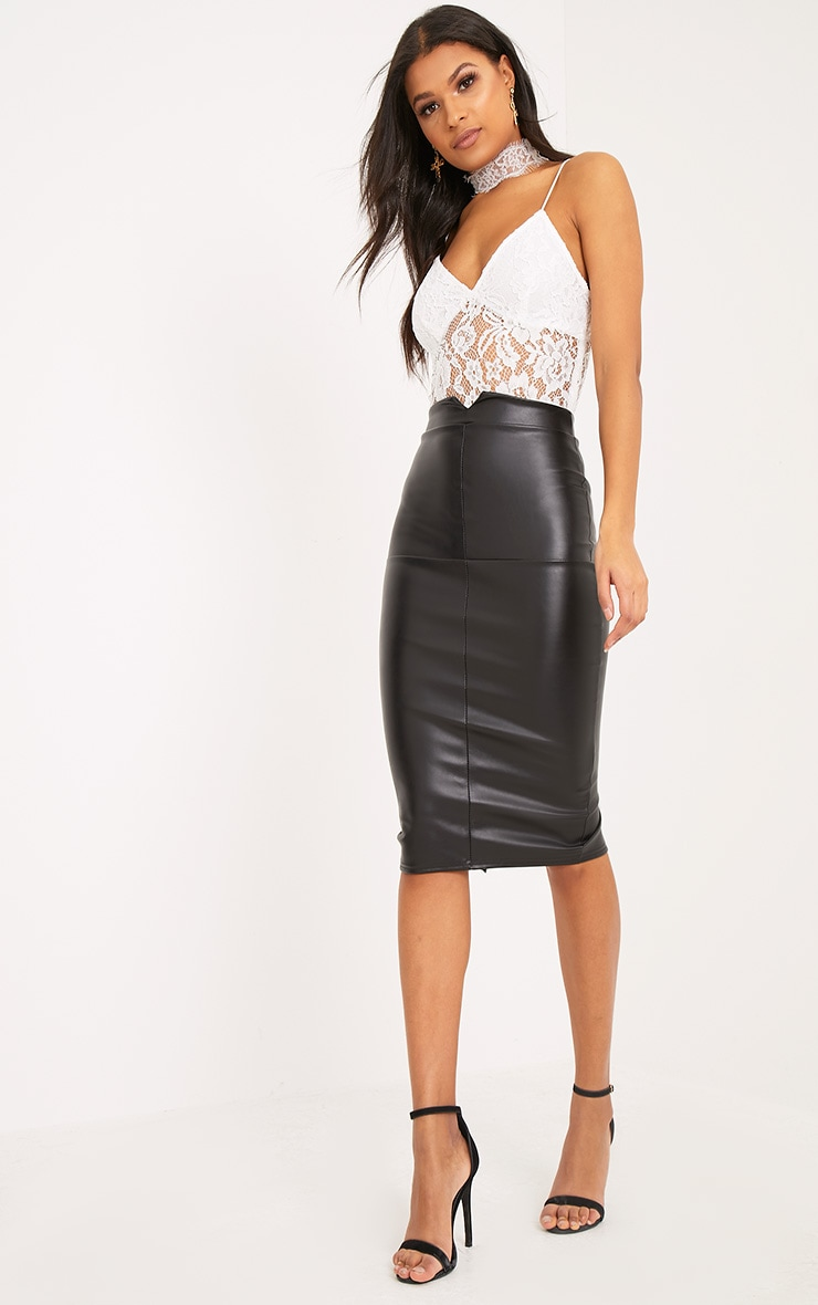 Eva Black Faux Leather Panel Midi Skirt 1