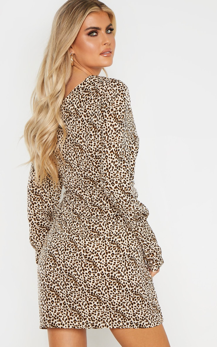 Tall Cream Leopard Print Off The Shoulder Long Sleeve Blazer Dress 3