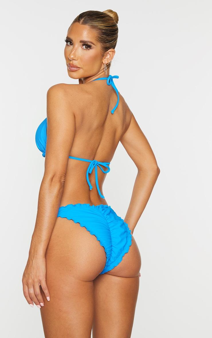 Blue Deep Frill Edge Padded Bikini Top 2