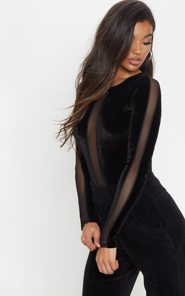Black Velvet Long Sleeve Mesh Bodysuit 1