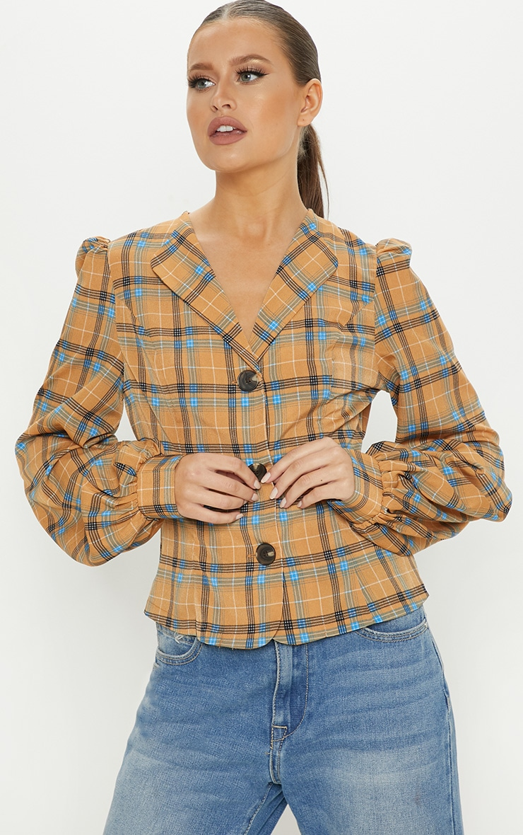 Mustard Check Woven Button Front Puff Sleeve Top
