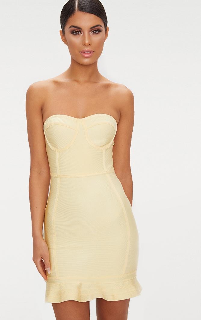 Lemon Bandage Frill Hem Bodycon Dress 1