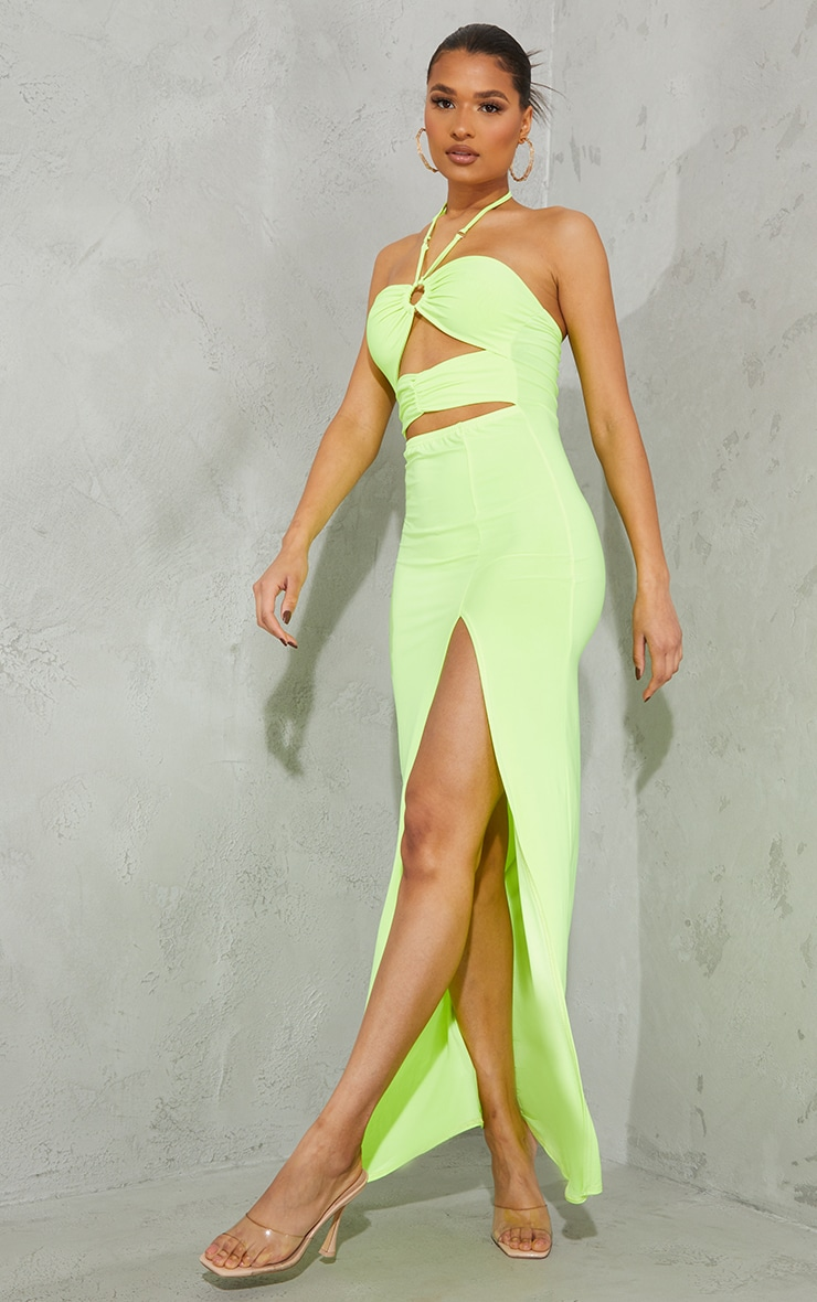 Lime Slinky Ring Detail Cut Out Halterneck Maxi Dress 3