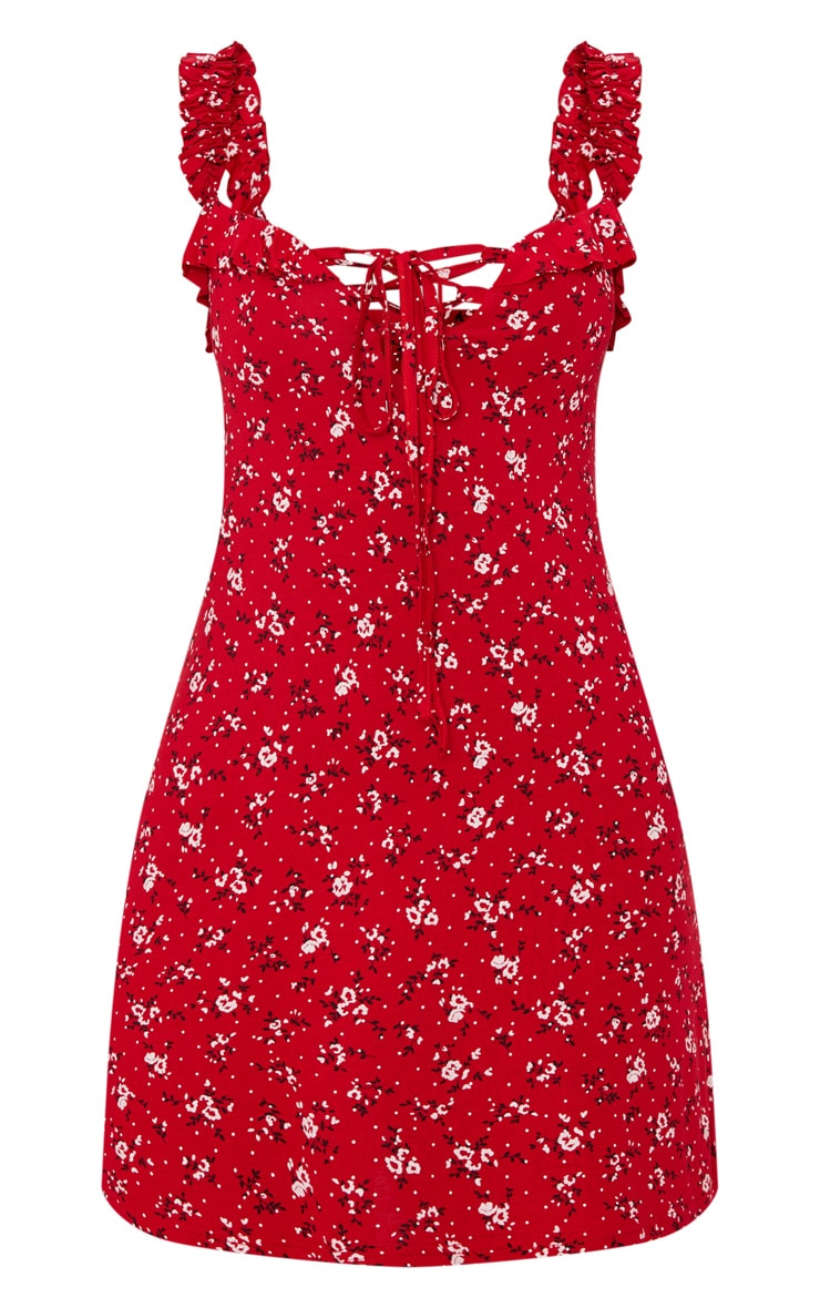 Recycled Red Ditsy Floral Frill Detail Shift Dress 5