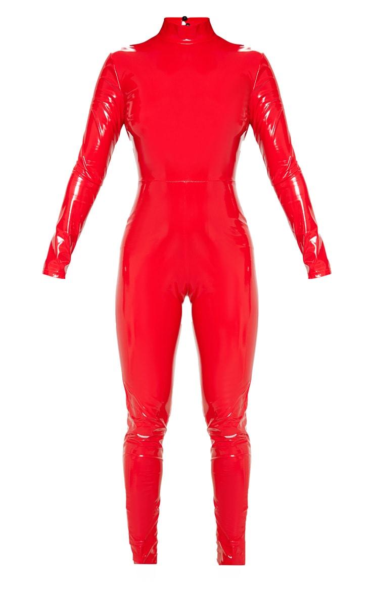 Petite Red Backless Vinyl Long Sleeve Jumpsuit 3