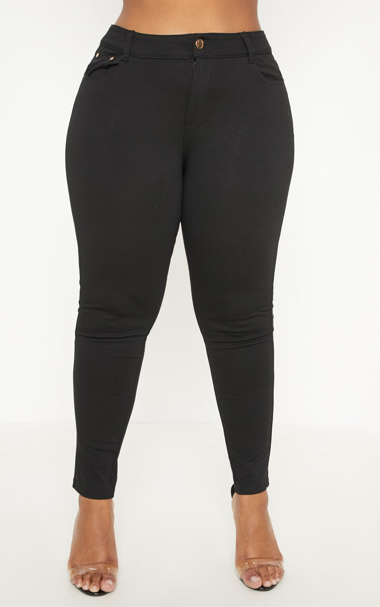 Plus Black Mid Rise Skinny Jegging  2