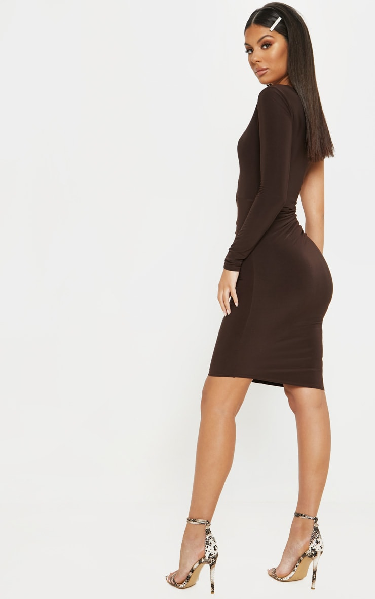 Chocolate Brown Slinky Cut Out Ruched One Sleeve Bodycon Dress 2