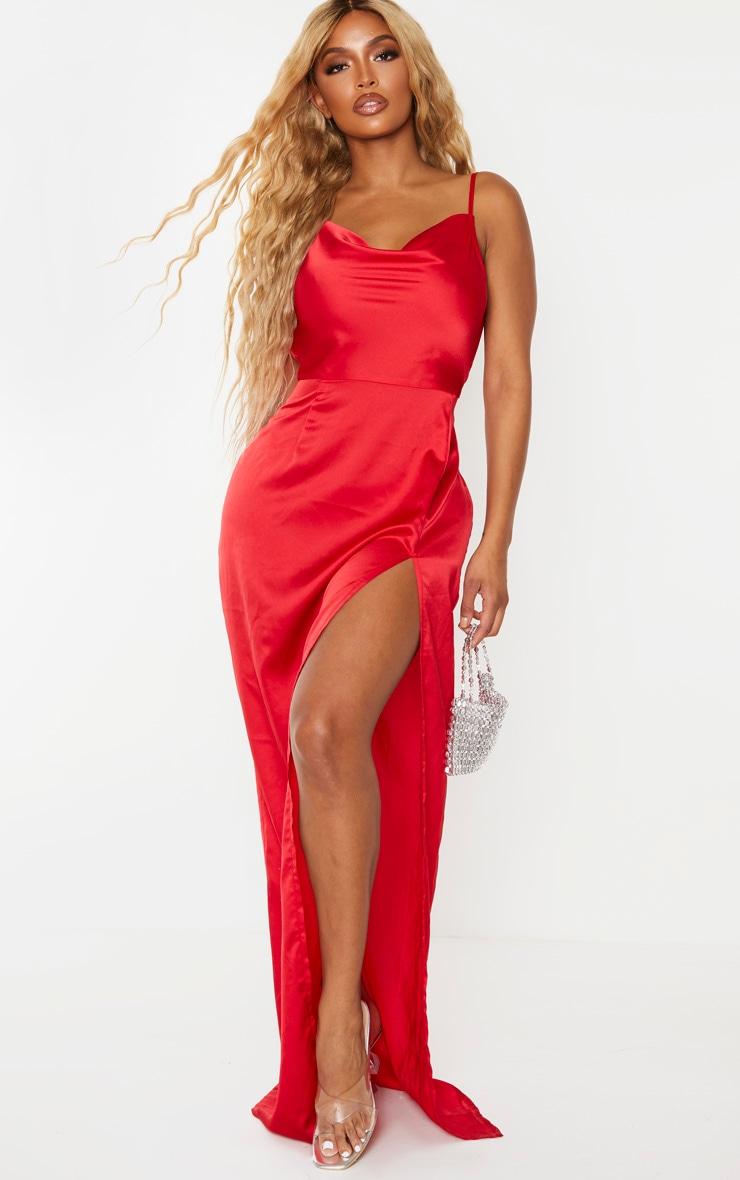 Shape Red Satin Cowl Neck Maxi Dress 1