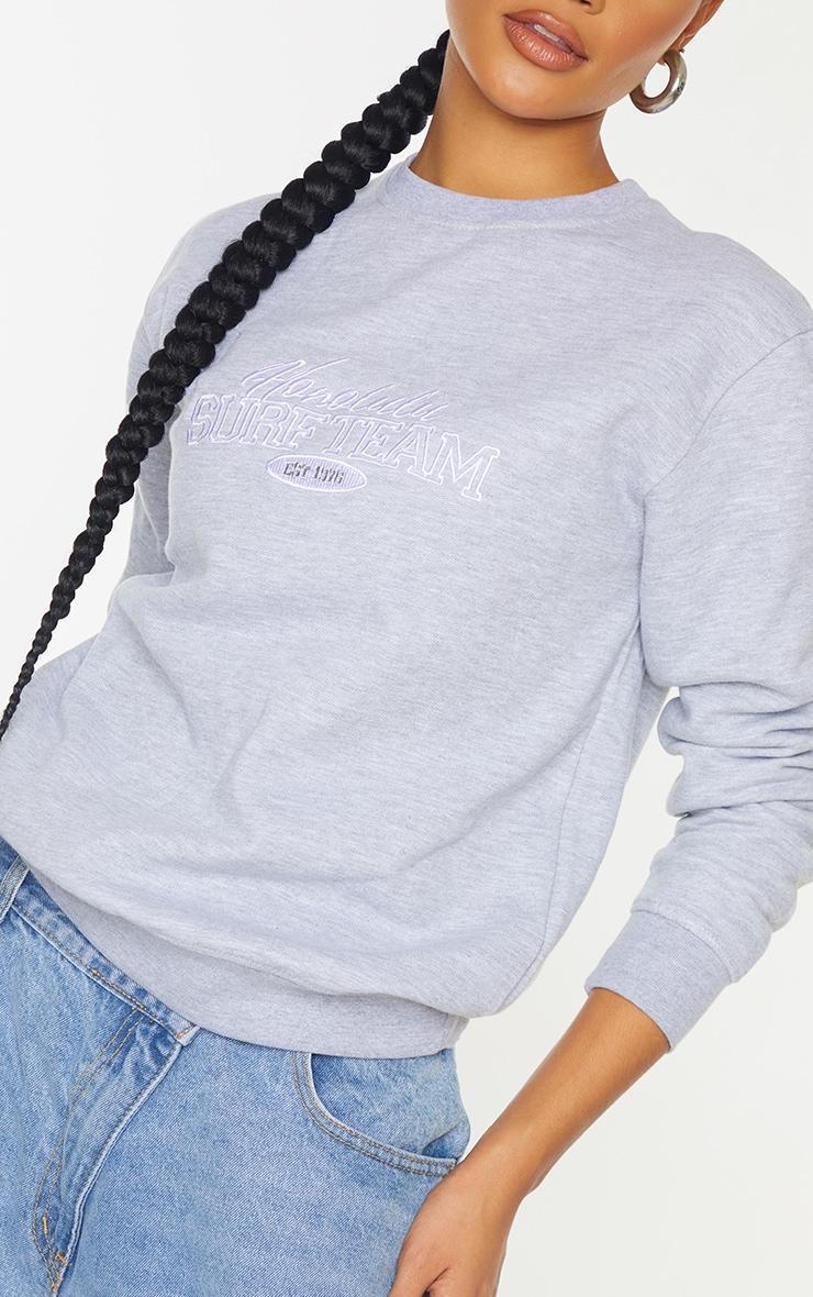 Grey Honolulu Surf Embroidered Sweatshirt 4