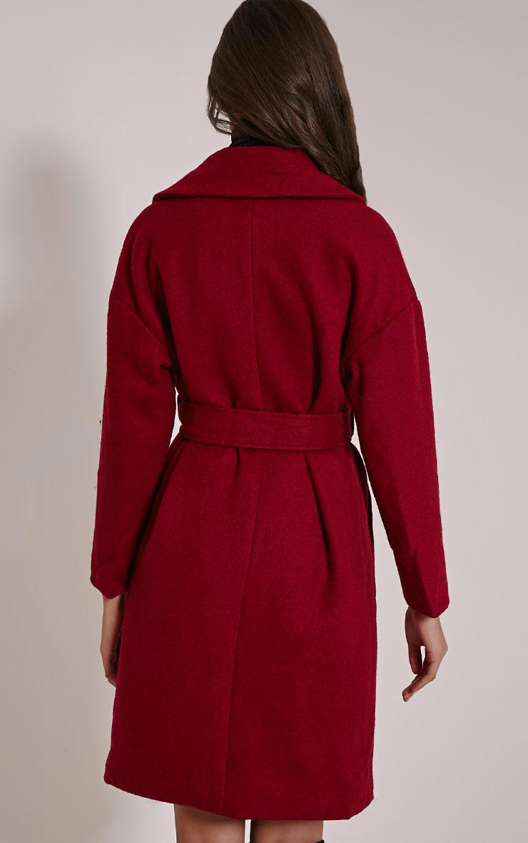 Evangeline Burgundy Wool Trench Coat 2
