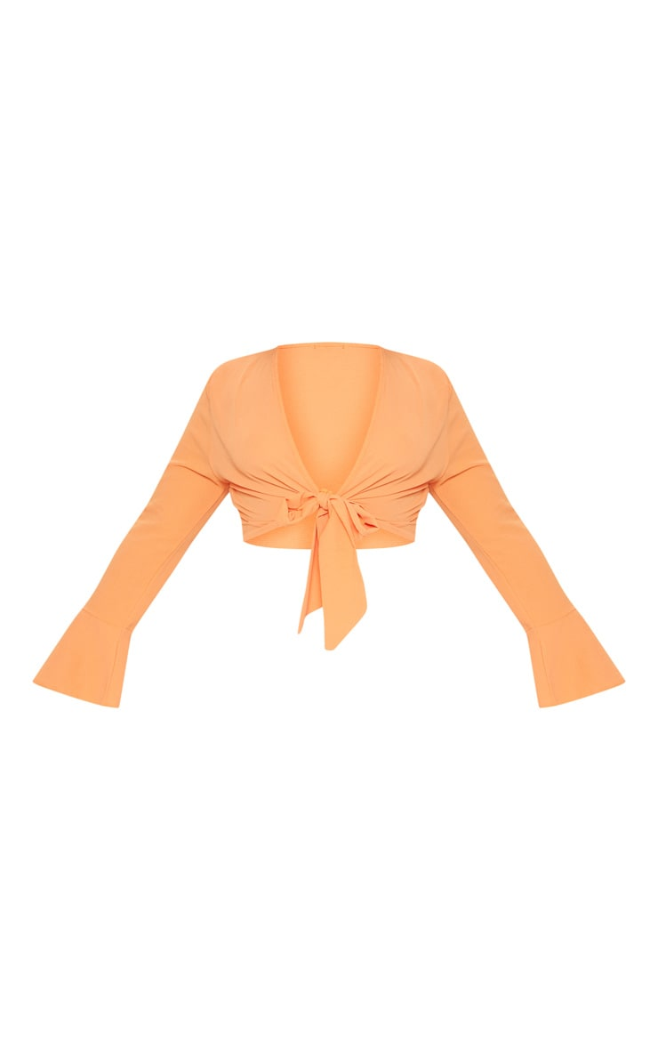 Plus Orange Tie Front Frill Sleeve Blouse 3
