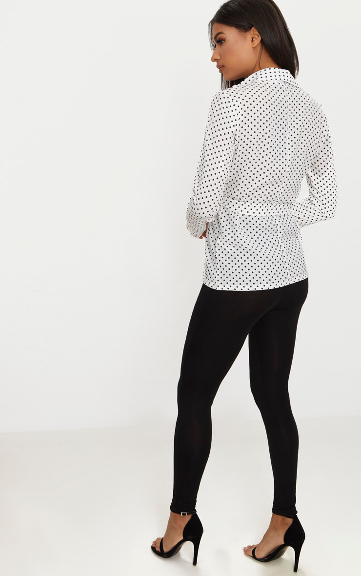 White Polka Dot Belted Top 2