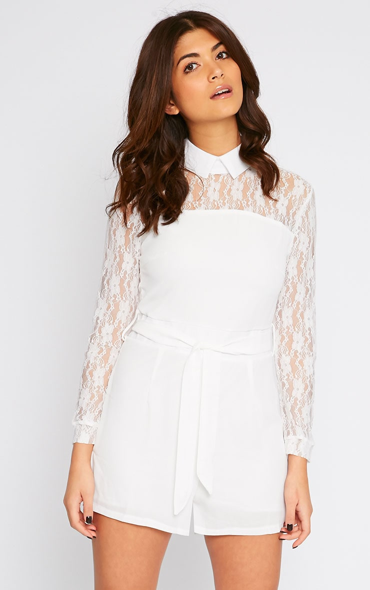Nicky Cream Lace Long Sleeve Collar Playsuit 4