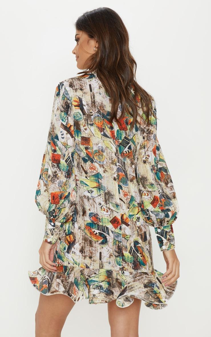 Nude Abstract Print Frill Hem Shirt Dress 2