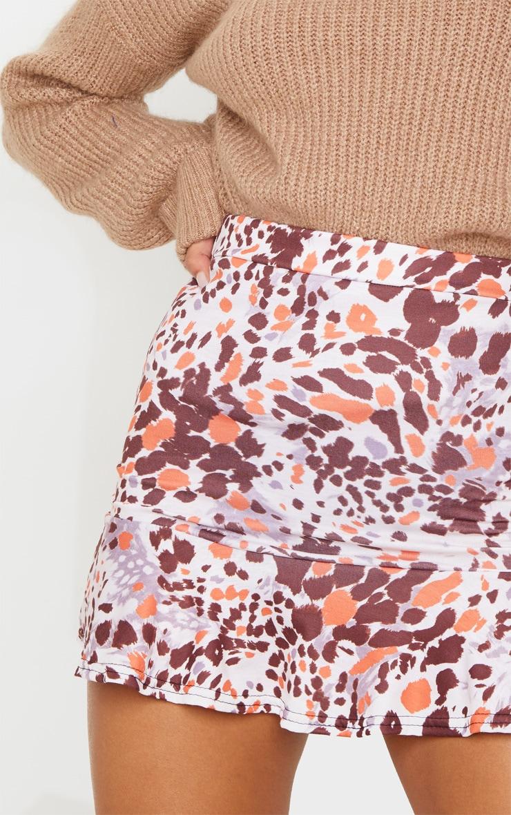 Beige Abstract Animal Print Flippy Hem Mini Skirt 6