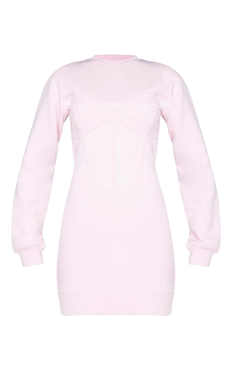 Baby Pink Binding Bust Corset Detail Sweater Dress 5