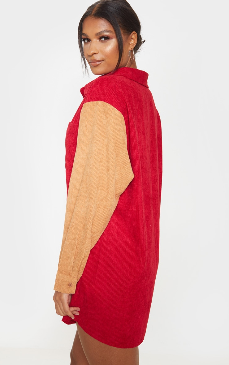 Red Colour Block Cord Pocket Front Oversized Shirt Dress 2