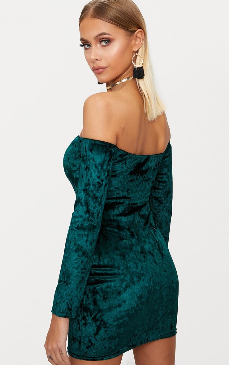 Emerald Green Velvet V Bar Bardot Bodycon Dress 2