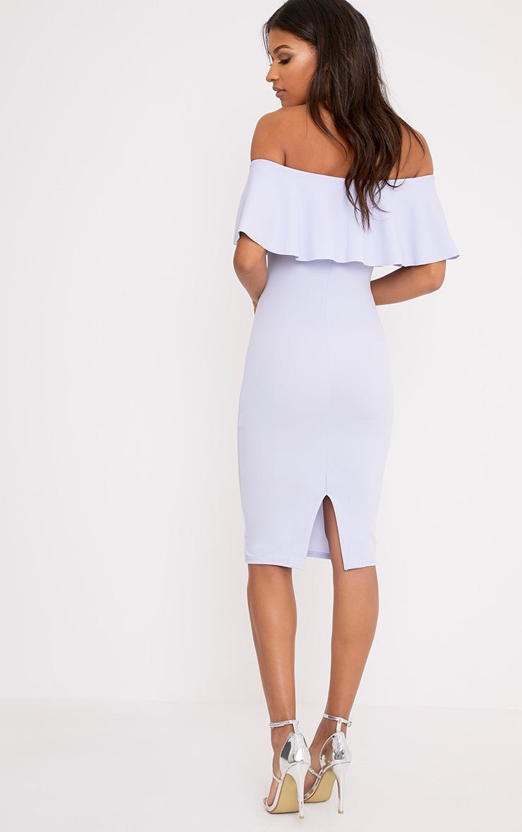 Celinea Dusty Blue Bardot Frill Midi Dress 2