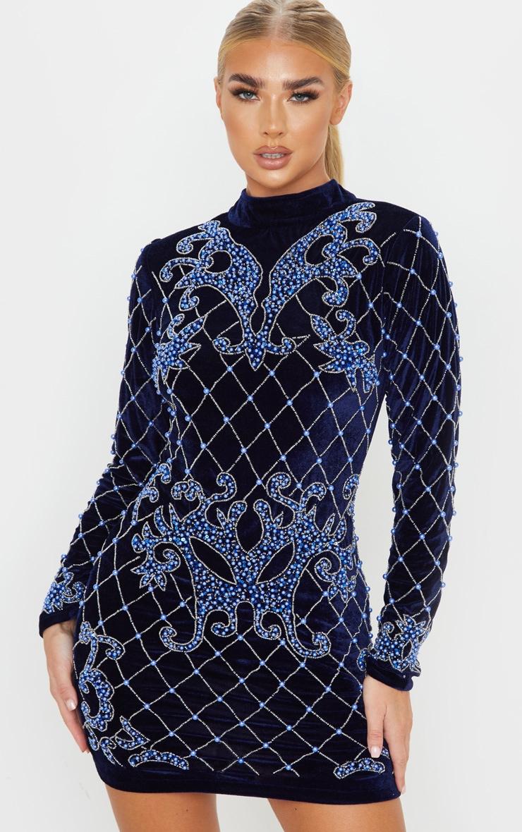 Womens Ladeis Long Sleeve Beaded Glitter Embellished  Valvet Bodycon Party Dress