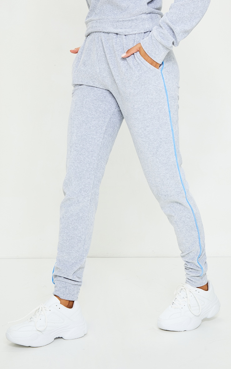 Grey Velour Contrast Side Stripe Joggers 2
