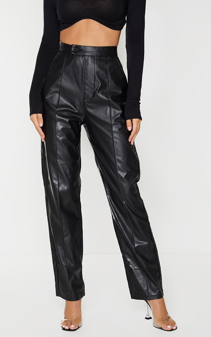 Black Faux Leather Pintuck Detail Straight Leg Trousers 2