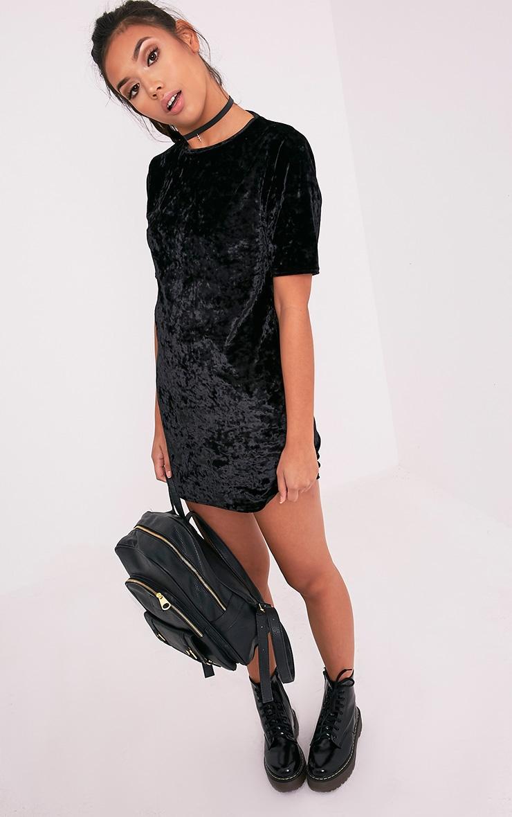 Maylia Black Crushed Velvet T Shirt Dress 3
