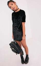 c5e74ca72c8b0 Maylia Black Crushed Velvet T Shirt Dress | PrettyLittleThing