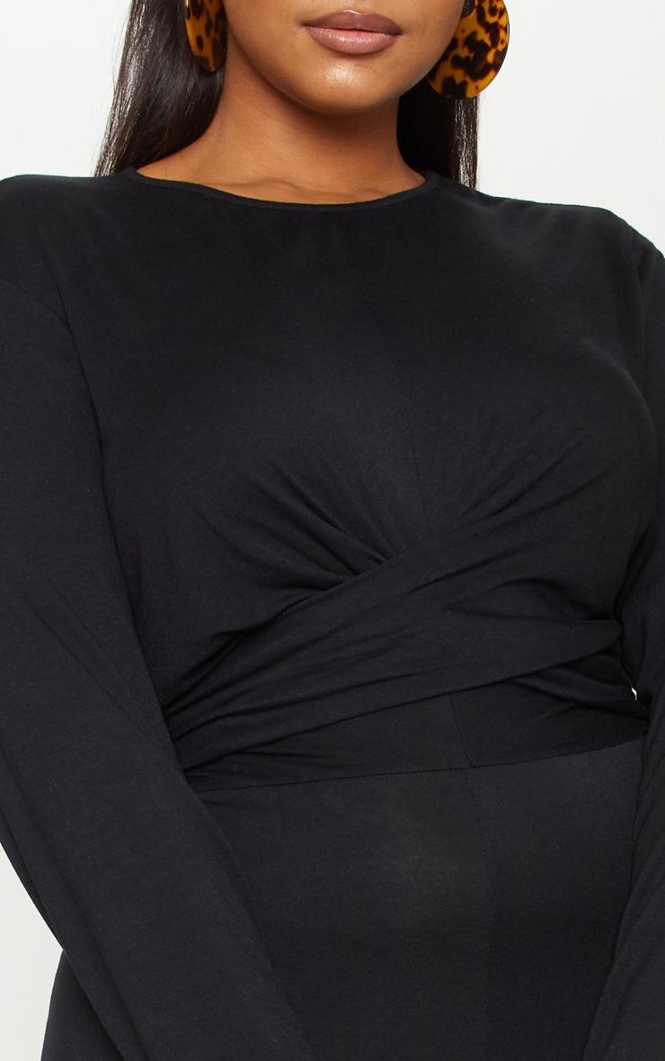 Plus Black Twist Front Culotte Jumpsuit 5