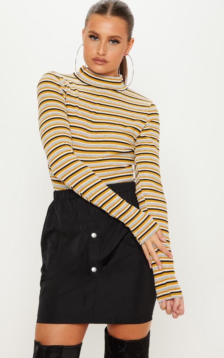 Mustard Stripe Rib Roll Neck Long Sleeve Bodysuit 1 66f756579