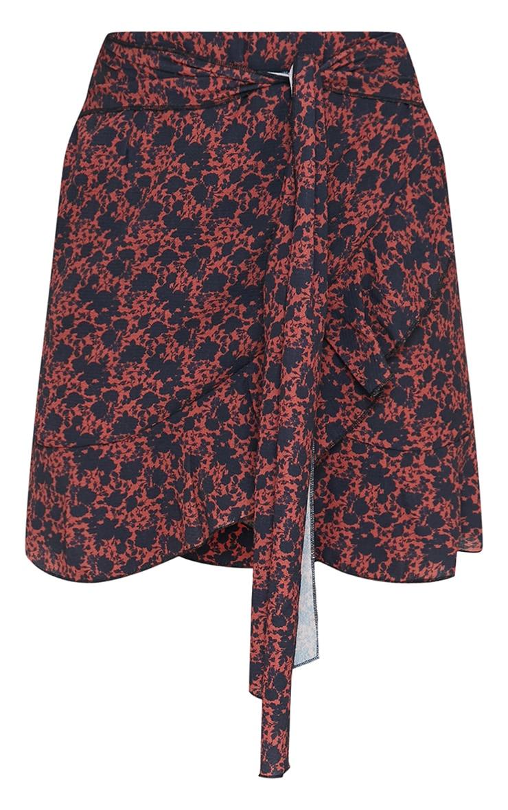 Rust Ditsy Tie Detail Frill Edge Wrap Mini Skirt 6