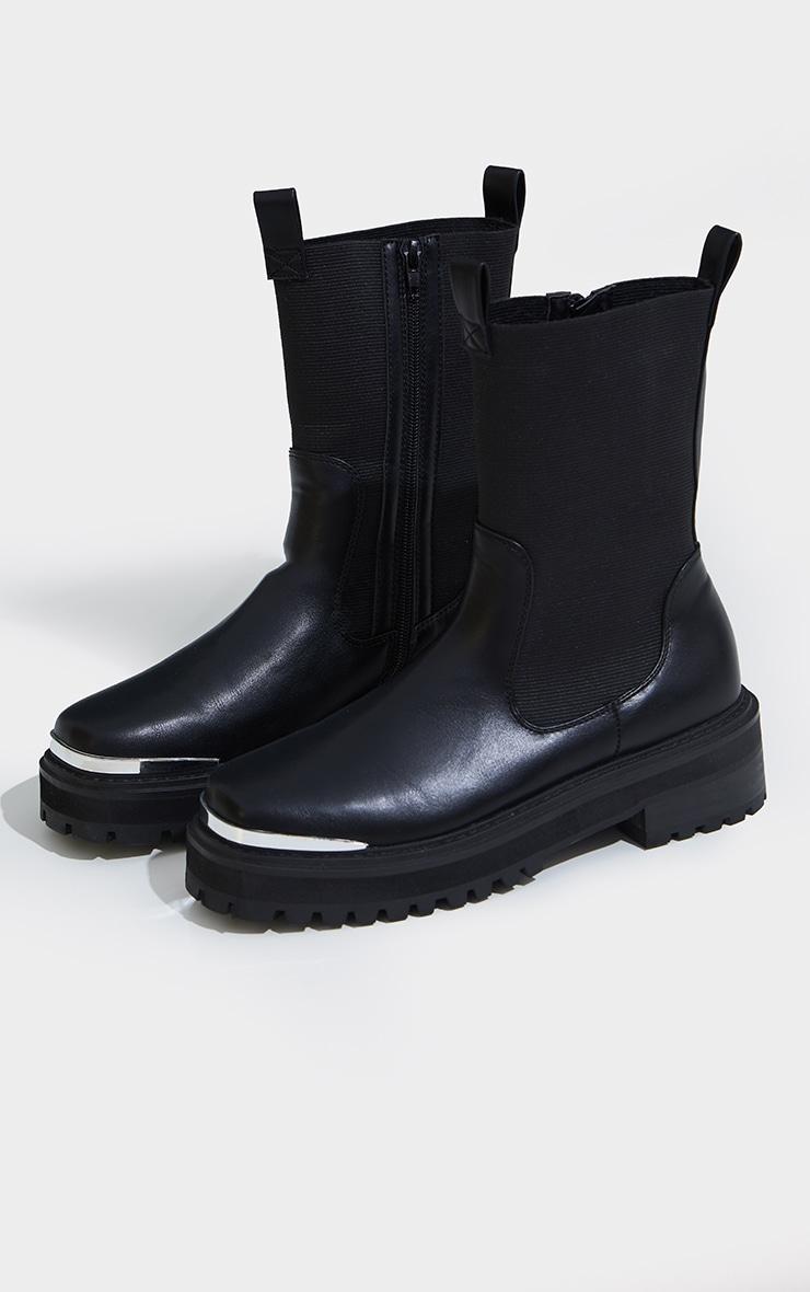 Black Pu Toe Cap Ridged Sole Chelsea Ankle Boots 3
