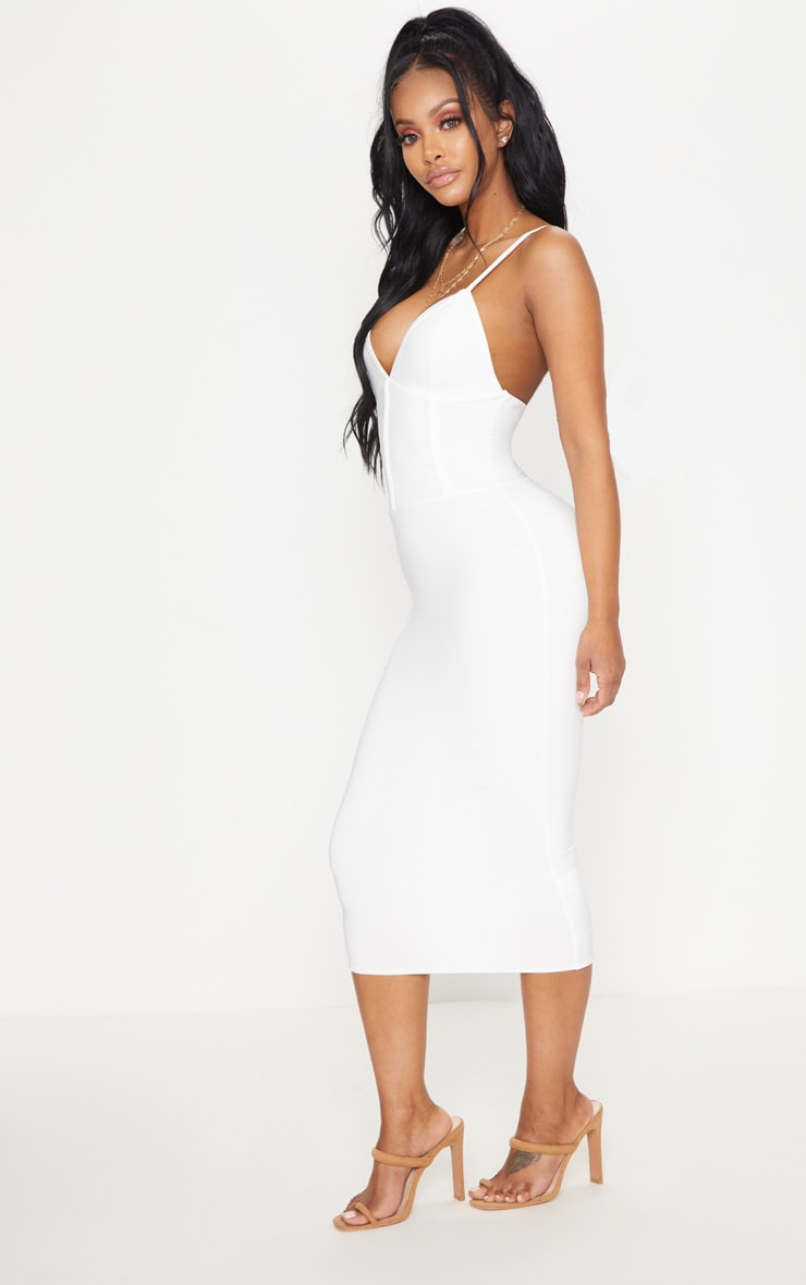 Shape Ivory Slinky Panelled Midi Dress 4