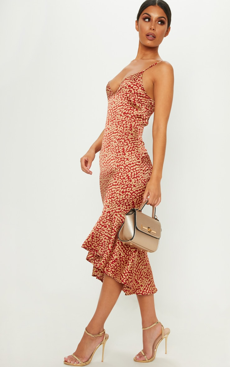 Red Leopard Print Frill Hem Midi Dress 4