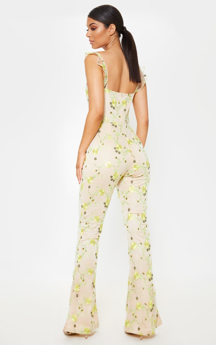 Yellow Floral Embroidered Sleeveless Flared Leg Jumpsuit 2