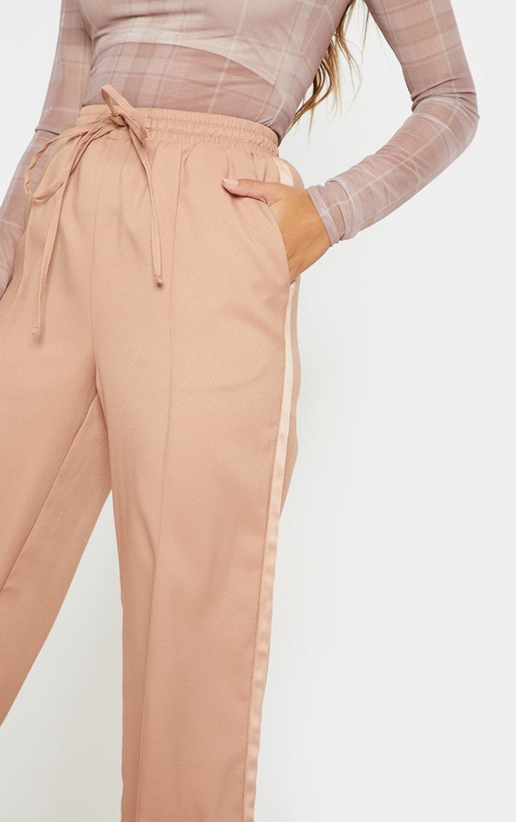 Camel Drawstring Waist Satin Side Stripe Pants 5