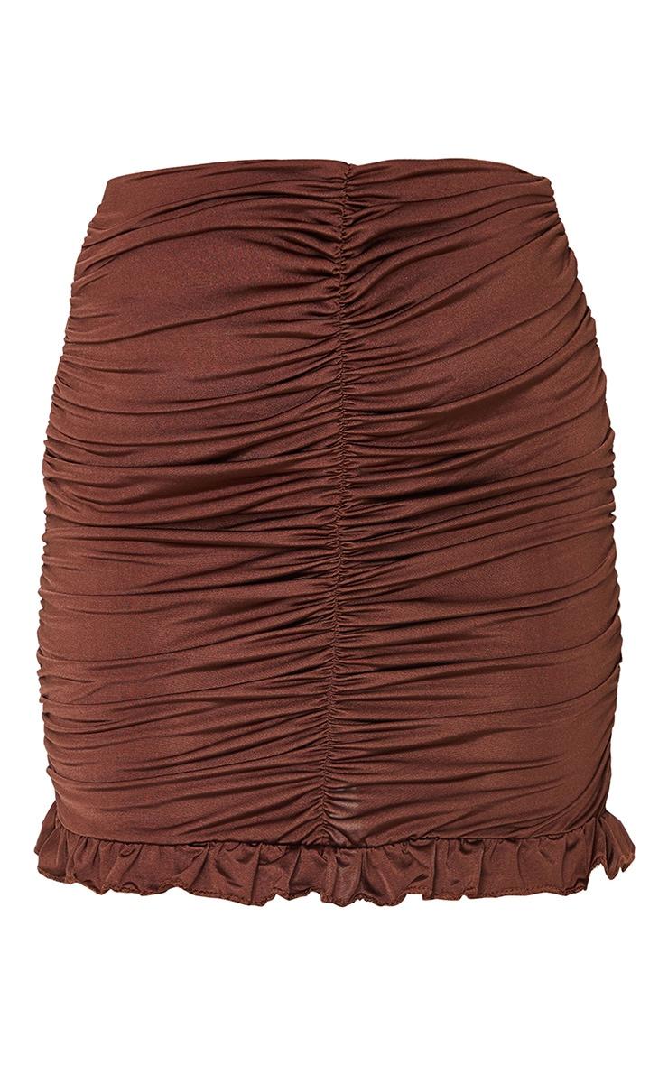 Chocolate Slinky Ruched Frill Hem Mini Skirt 6