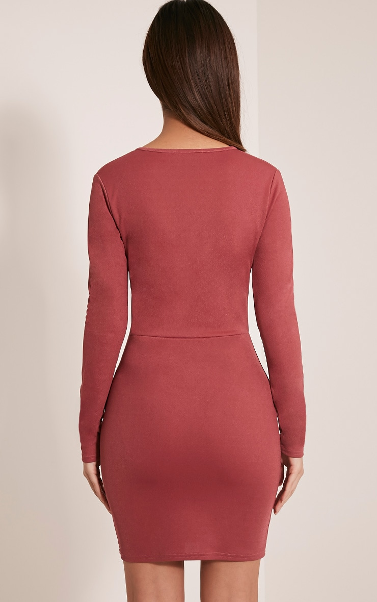 Arya Rose Strap Detail Plunge Bodycon Dress 2